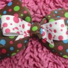 Brown and Pink Polka Dot Hair Bow!!!