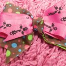 Pink w/ Blk Crosses & Brown Polka Dot Hair Bow!!!
