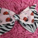 Pink Lady Bugs& Zebra Print Hair Bow!!!
