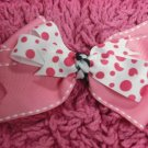 White Polka Dot & Pink Hair Bow!!!