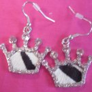 Cow Print Crown Ear Rings Bling!!!!!! Z2-13