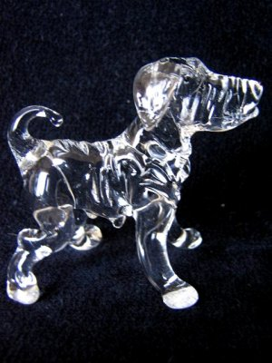 CHINESE SHAR PEI DOG CRYSTAL GLASS MINIATURE FIGURINE