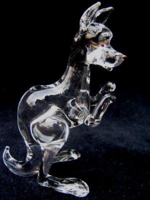 KANGAROO (WALLABY) CRYSTAL GLASS MINIATURE FIGURINE