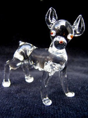 RAT TERRIER CRYSTAL GLASS MINIATURE FIGURINE