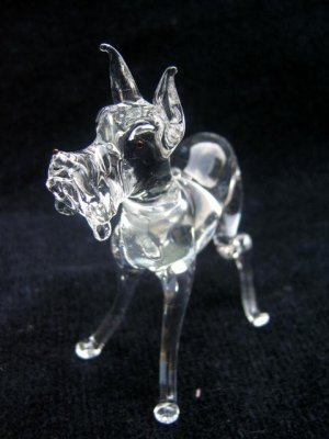 GREAT DANE CRYSTAL GLASS MINIATURE FIGURINE