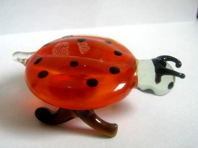 UKRAINIAN MURANO / LADYBUG ART GLASS LAMPWORK MINIATURE