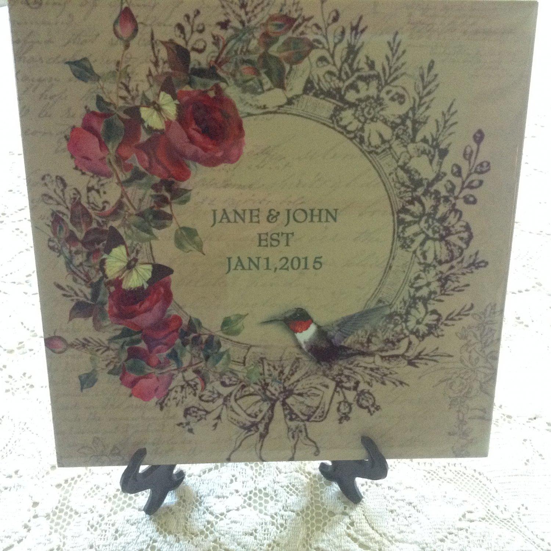 "8"" personalized wedding tile"