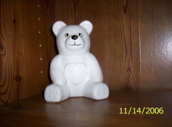 White Teddy Bear Planter