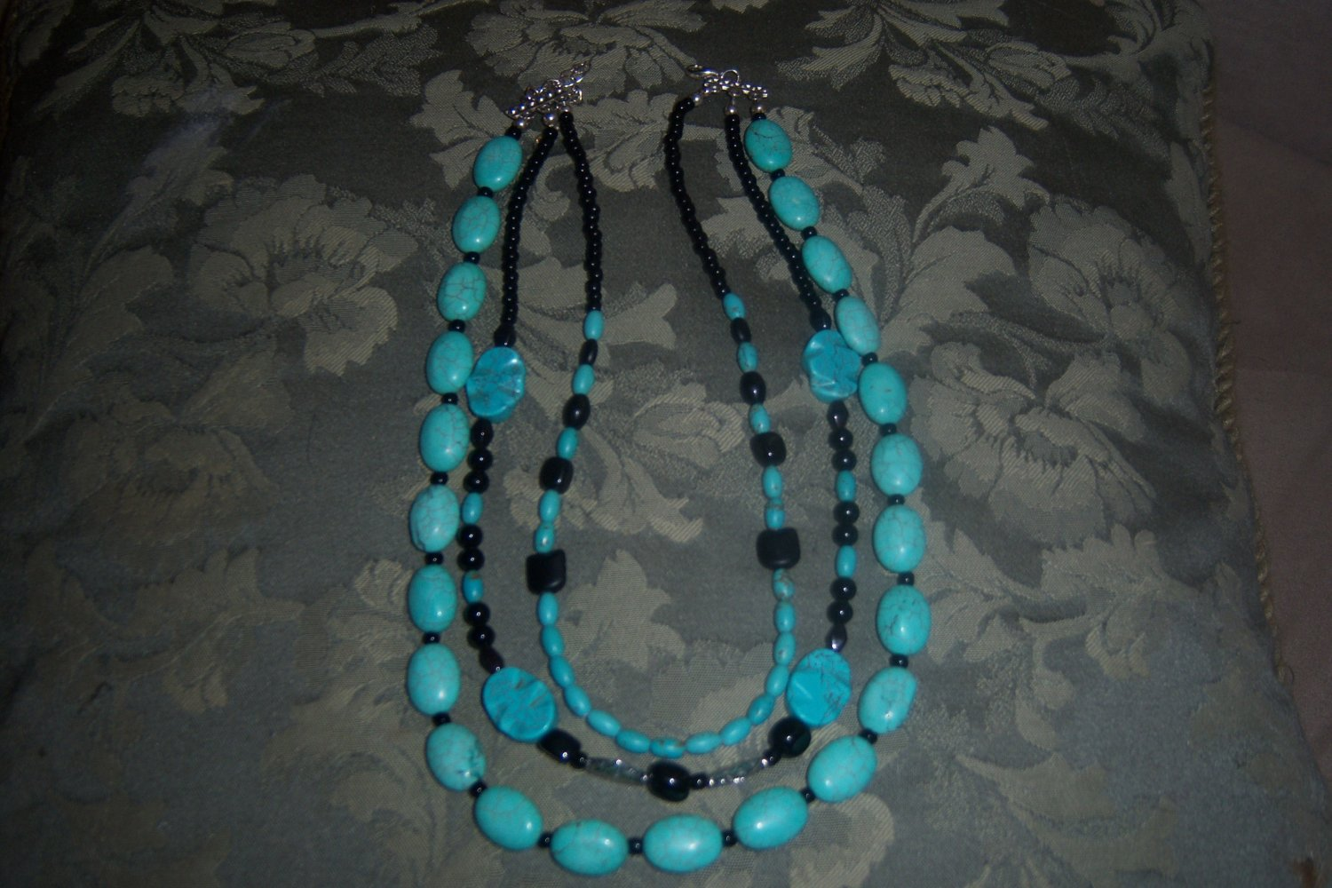 TRIPLE THREAT- TURQUOISE AND BLACK NECKLACE