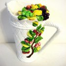 Vintage White Pottery Fruit Water Pitcher