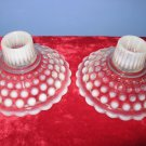 Retro: Vintage Pair Opalescent Hobnail Moonstone Candle Stick Holders