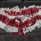 Burgundy Satin And Lace Garter -  New