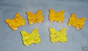 Six Ceramic Butterflies Beads For Macrame Orange/Yellow