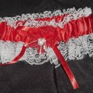 Red Satin And Lace Garter -  New