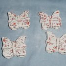 Four Ceramic Butterflies Beads For Macrame White/Orange