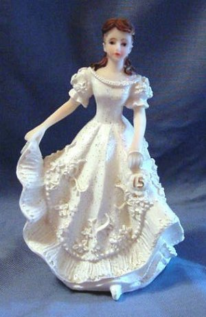 Quinceanera Cake Topper Figure White Dress 15
