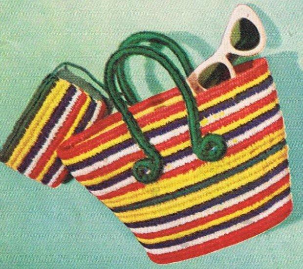Tote Bag, Tote Vintage Crochet Pattern, Beach Tote Bag