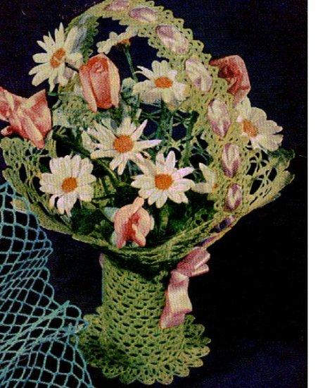 Deep Vase Pattern Thread Flower Vintage Basket Crochet