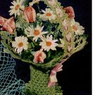 Deep Vase  Pattern Thread Flower Vintage Basket Crochet