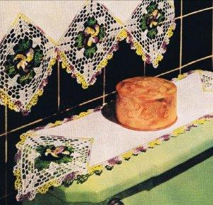 Vintage Crochet Pansy Flowers, Crochet Bath Set Edging  Pattern