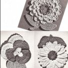 Vintage Potholders Crochet Pattern, Flower Hotpads Thread