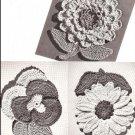 Vintage Flower Crochet Pattern, Pansy, Sunflower, Dahlia Flower Potholders