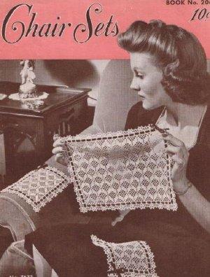 Vintage Crochet Chair  Pattern Vintage Set #7673