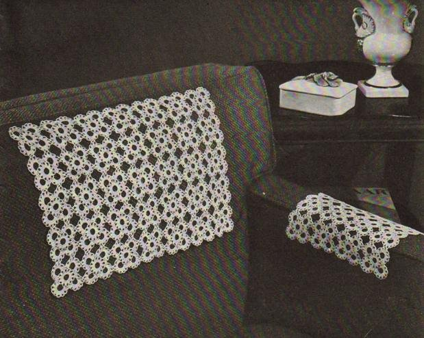 Crocheted Chair Set Motif Square Vintage Chairsets