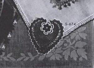 Handkerchief Heart  Corner Pattern and  Crochet Edging