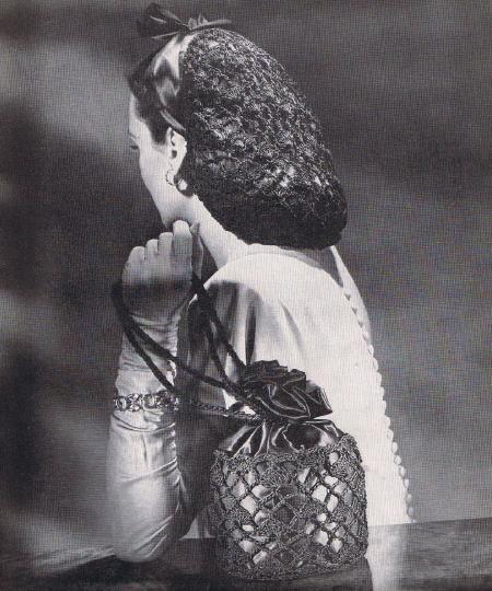 Evening Design Snood Crochet Hair Vintage Net Pattern Matching Purse