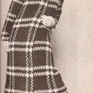 Plaid Vintage Crochet Coat Pattern, Midi