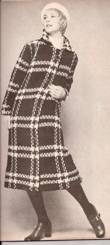 Plaid Vintage Crochet Coat Pattern, Midi