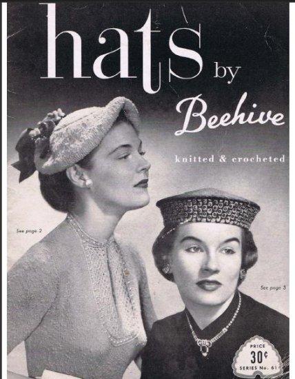 Beehive Pattern Book Crochet Hats Vintage Beret Halo Fedora Mandarin 50s Pdf