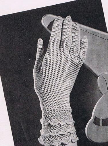Womens Thread Crochet Vintage Pattern Gloves, Lace