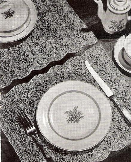 Table Place Mats  Pattern, Doily Place Setting Knit Mats