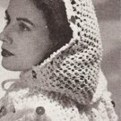 Fascinator Crochet Pattern Scarf  Vintage  Head Evening Wrap, Throw