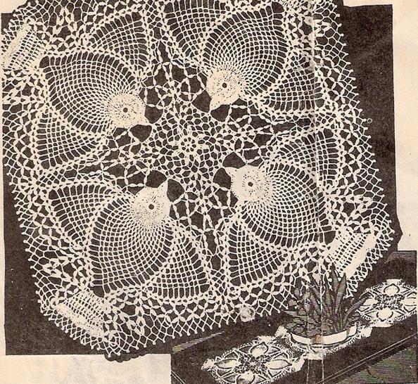 Crochet Square Doilies, Pineapple Vintage Square Pattern Doilies