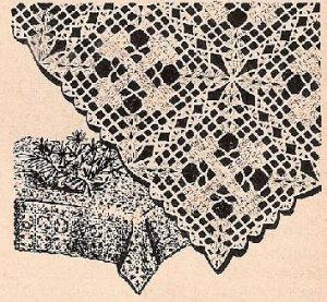 Filet Crochet Cross Tablecloth Pattern, Vintage Thread Patterns