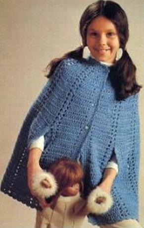 Crochet 2 12 Ponchos Button Vintage Cape Child Size Pattern