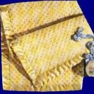 Crochet Baby Afghan Basketweave Pattern Blanket with Sewn on Satin Edging