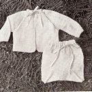 Vintag Sacque Baby Knitted Set Sweater Pattern