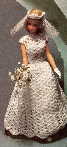 bridal pattern  fashion doll crochet dress  barbie doll