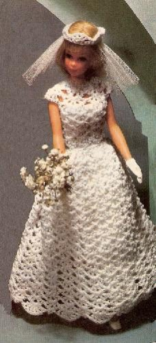 bridal pattern fashion doll crochet dress barbie doll gown veil clothing 11 1 2. Black Bedroom Furniture Sets. Home Design Ideas