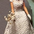 "Wedding Barbie Doll Crochet,Bridal Dress Pattern 11-1/2"" Shell Fashion Lace Gown"