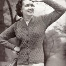 V-Neck Cardigan Knit 1940s Fashion Knit Sweater