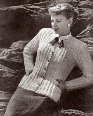 Vintage Sweaters, Women's Knit Cardigan Pattern, 1950s Needlework