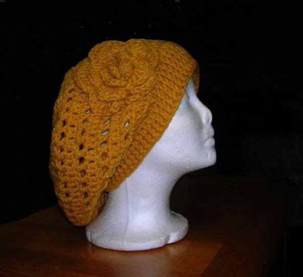 Baggy Beanie Hat Crochet Pattern : Crochet Beret Baggy Beanie Slouchy Pattern Flowered Hat