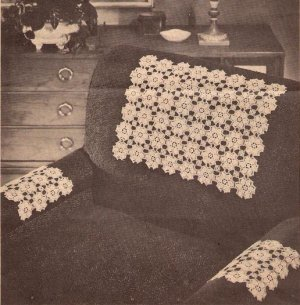 Chair Set, Daisy Motif Set, Chair Pattern Set, Crochet