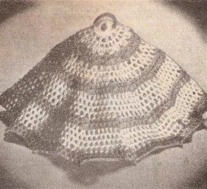 Vtg  Crochet Pattern Round French Dishcloth, Dish Cloth Pattern