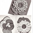 Vintage Potholders, Flower Crochet Patterns, Make Pot Holders  Vintage Pansy, Dahlia, Sunflower